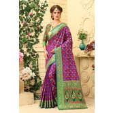 Craftsvilla Purple Color Cotton Silk Patola Traditional Saree With Unstitched Blouse Material
