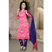 Craftsvilla Pink Color Hand Painted Cotton Unstitched Bandhej Straight Suit