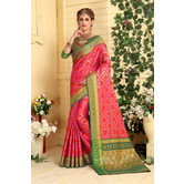 Craftsvilla Multicolor Cotton Silk Patola Traditional Saree With Unstitched Blouse Material