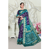 Craftsvilla Blue Art Silk Designer Handpainted Saree With Unstitched Blouse Piece