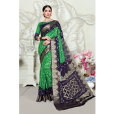 Craftsvilla Green Art Silk Designer Handpainted Saree With Unstitched Blouse Piece