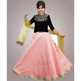 Craftsvilla Pink Color Lehenga With Crop Top For Girls
