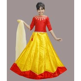 Craftsvilla Yellow And Red Color Lehenga With Crop Top For Girls