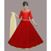 Craftsvilla Red Color Lehenga With Crop Top For Girls