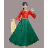 Craftsvilla Green Color Lehenga With Crop Top For Girls