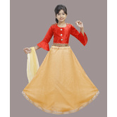Craftsvilla Gold Color Lehenga With Crop Top For Girls