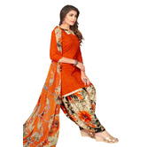 Craftsvilla Orange Color Synthetic Printed Unstitched Straight Suit