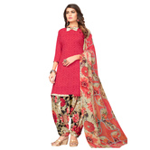 Craftsvilla Red Color Synthetic Printed Unstitched Straight Suit
