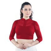 Craftsvilla Red Color Cotton Designer 3/4 Th Sleeve Readymade Blouse