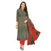 Craftsvilla Grey Color Cotton Printed Unstitched Salwar Suit