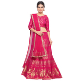 Craftsvilla Pink Color Jacquard Woven Semi-stitched Traditional Lehenga Choli