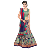 Craftsvilla Blue Color Jacquard Woven Semi-stitched Traditional Lehenga Choli