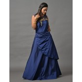 Sutva Blue Color Satin Stone Embellished Gown