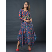 Sutva Multicolor Chanderi Cotton Printed Readymade Dress