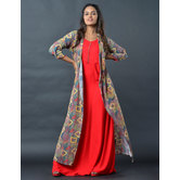 Sutva Red Cotton Plain Readymade Gown