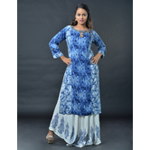Sutva Multicolor Nylon  Hand Embroidered, Printed Readymade Gown