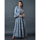 Sutva Blue Color Nylon Printed Readymade Gown