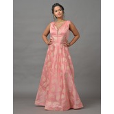 Sutva Peach Color Zardosi Art Silk Wedding Gown