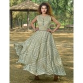 Sutva Beige Color Jacquard Stone Embellished Readymade Gown