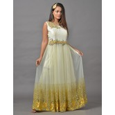 Sutva Off White Color Net Zari Work Gown