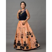 Sutva Blue, Peach Color Velvet Zardosi Work Gown