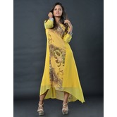 Sutva Yellow Color Crepe Printed Readymade Dress