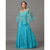 Sutva Turquoise Color Art Silk Embroidered Gown