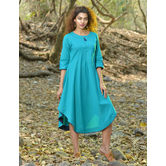 Sutva Turquoise Color Cotton Plain Readymade Dress