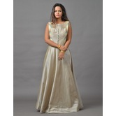 Sutva Grey Color Plain Art Silk Wedding Gown