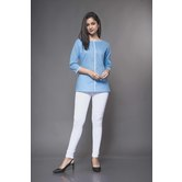 Craftsvilla Blue Linen Solid Readymade Top