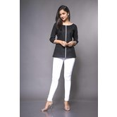 Craftsvilla Black Linen Solid Readymade Top