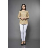 Craftsvilla Beige Linen Solid Readymade Top