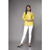 Craftsvilla Yellow Linen Solid Readymade Top