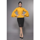 Craftsvilla Yellow Crepe Solid Readymade Top