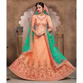 Craftsvilla Coral Mulberry Silk Bridal Lehenga With Blouse