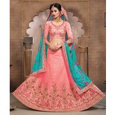 Craftsvilla Salmon Mulberry Silk Bridal Lehenga With Blouse