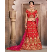 Craftsvilla Red Mulberry Silk Bridal Lehenga With Blouse