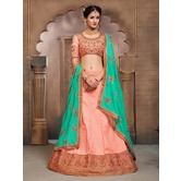 Craftsvilla Peach Mulberry Silk Bridal Lehenga With Blouse