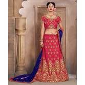 Craftsvilla Rich Pink Mulberry Silk Bridal Lehenga With Blouse