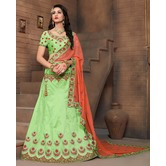 Craftsvilla Apple Green Mulberry Silk Bridal Lehenga With Blouse