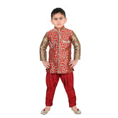 Craftsvilla Red Color Brocade Embroidered Kurta And Breeches Set