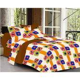 Always Plus Gray Check Double Bedsheet (1 Double Bedsheet With 2 Pillow Cover)