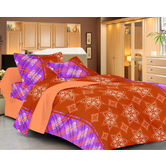 Always Plus Brown Floral Double Bedsheet