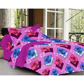 Always Plus Orange Floral Double Bedsheet (1 Double Bedsheet With 2 Pillow Cover)
