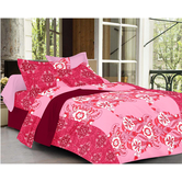 Always Plus Pink Floral Double Bedsheet (1 Double Bedsheet With 2 Pillow Cover)
