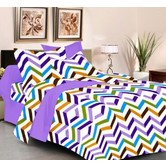 Always Plus Orange Contemporary Double Bedsheet (1 Double Bedsheet With 2 Pillow Cover)