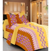 Always Plus Sky Blue Floral Double Bedsheet (1 Double Bedsheet With 2 Pillow Cover)