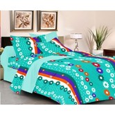 Always Plus Purple Floral Double Bedsheet (1 Double Bedsheet With 2 Pillow Cover)