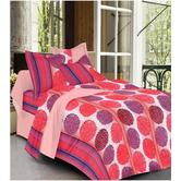 Always Plus Red Floral Double Bedsheet (1 Double Bedsheet With 2 Pillow Cover)