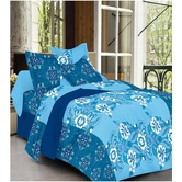 Always Plus Blue Floral Double Bedsheet (1 Double Bedsheet With 2 Pillow Cover)